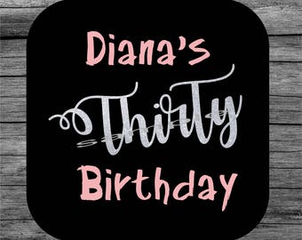 20 Birthday coaster, Thirty birthday coaster, Personalized coaster, Custom coaster, Birthday gift