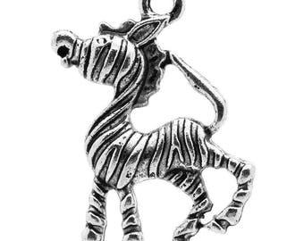 Set of 3 Silver Zebra charm measuring 17x25mm