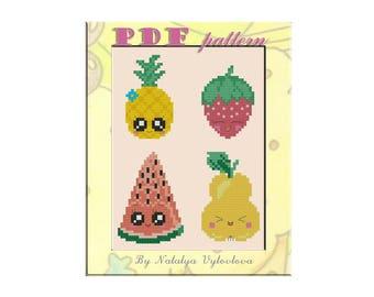 Kawaii Fruits and Berries Cross Stitch Pattern