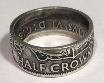 Silver Half Crown Coin Ring