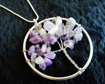 Amethyst Tree of Life Necklace - Wires, Crystal, Healing, Pagan, Wiccan, Earth