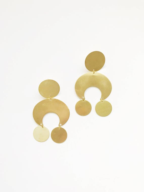 Large Brass Geometric Earrings
