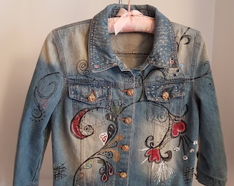 Vintage Child's Denim Hand Painted & Embellished, Baby BoHo Bohemian Bleached Jean Jacket, Hearts Rhinestones-Small-Med Follow Your Heart