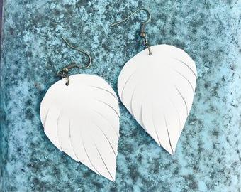 Handcut Leather Raindrop Earrings