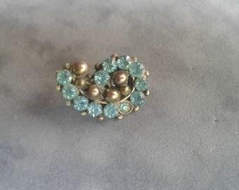 Aqua Stoned Pin repurposed Vintage.