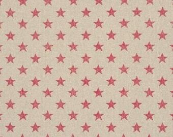 LINEN NATURAL STARS RED PVC COATING