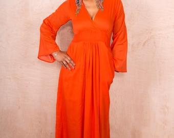 Tangerine Orange Boho Cotton Maxi Dress