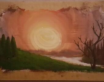 Landscape wood painting