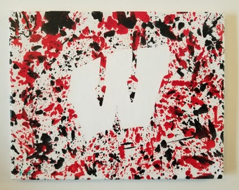 """Melted Wax painting: 11""""x14"""" Wisconsin W"""