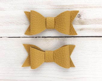 Set of Two (2) Mustard Yellow Faux Leather Clips