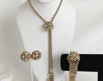 Mid-Century Rhinestone Tassell Necklace Set, Earrings, Bracelet, Aurora Borealis, Gold, Lariat, Bolo, Chain, Parure, Long