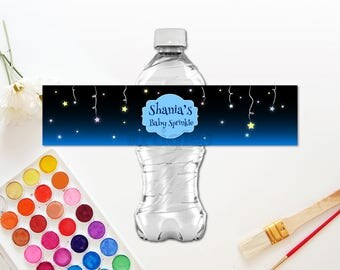 Personalized Hanging Stars Water Bottle Label Midnight Blue Baby Shower Baby Sprinkle First Birthday Printable DIY - Digital File