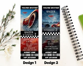 Personalized Cars 3 Birthday Party Admit One VIP Access Ticket Invitation Invite Printable DIY