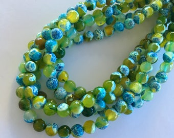 """8mm Round Faceted Dyed Natural Two Tone Fire Agate Beads (Lime Green & Blue/Summer Islands) - 47 pieces / 15"""" strand"""
