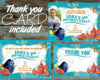 Finding Dory Invitation, Finding Nemo Invitation, Finding Dory Printable Invitation, Finding Dory Birthday Party Supplies, Dory and Nemo