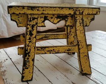 Vintage Small Chippy Yellow Bench/Stool