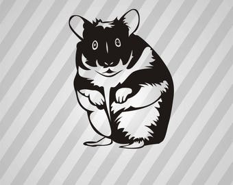 Hamster Silhouette -  Svg Dxf Eps Rld Rdworks Pdf Png Ai Files Digital Cut Vector File Svg File Cricut Laser Cut