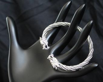 Handcrafted Artisan Jewelry, Silver Dragon Cuff, Laos Jewelry, Twin Dragon's Head