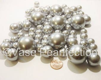 All Silver Pearls/Grey Pearls Vase Fillers in Jumbo and Assorted Sizes for Centerpieces
