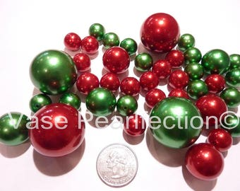 Christmas Holiday Green Pearls and Red Pearls Vase Fillers in Jumbo & Assorted Sizes for Holiday Centerpieces