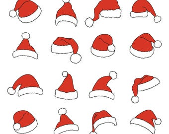 Santa Hat  Svg/Eps/Png/Jpg/Cliparts,Printable, Silhouette and Cricut File !!!