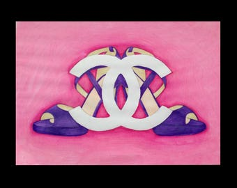 Chanel Logo and Heels with Pink Background