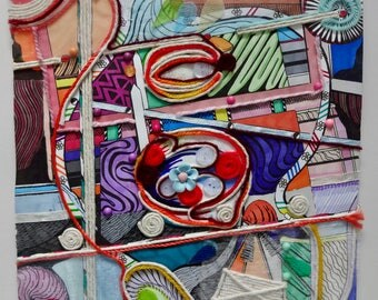 Mixed Media Collage Drawing. Semi- Abstract.
