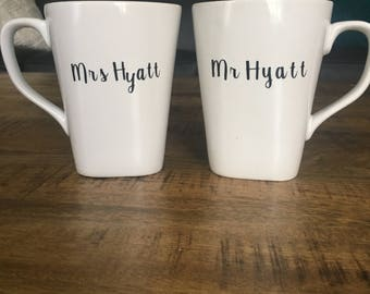Personalized Mr. and Mrs. Coffee Cups
