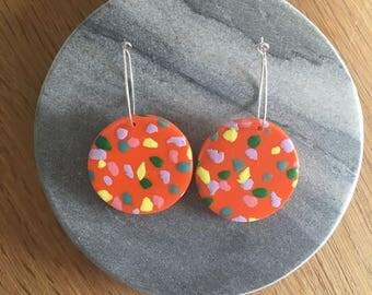 Orange Speckled Hoop Earrings