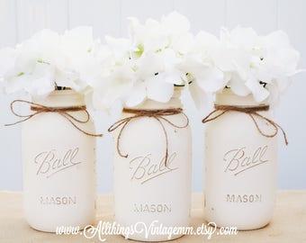 Set of 3 ivory painted mason jars,farmhouse decor, Mason jar centerpiece, Mason jar decor,rustic decor, wedding decor, Vase, Mason jars