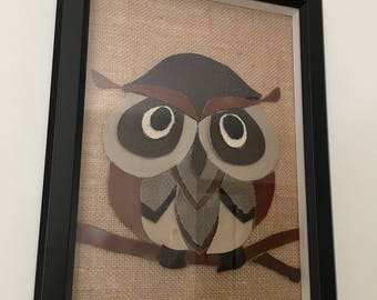 Owl leather wall art