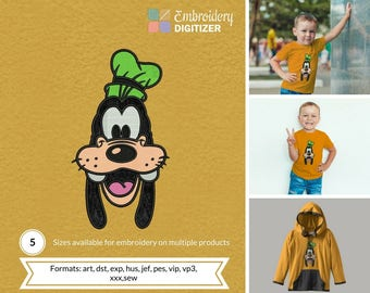 Goofy Head Applique Embroidery Design