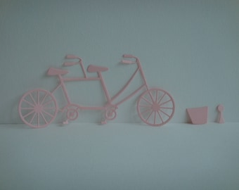 Cut bicycle tandem in pale pink design for scrapbooking and card paper