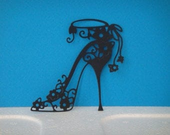 Cut black shoe heel with small flowers for scrapbooking and card