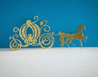 Cut out carriage and horse cardboard glittery gold for creation