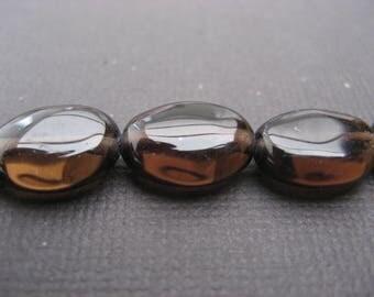 Smoky quartz: 3 flat oval beads 14 mm * 10 mm
