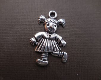 Girl 36 mm silver metal charm pendant