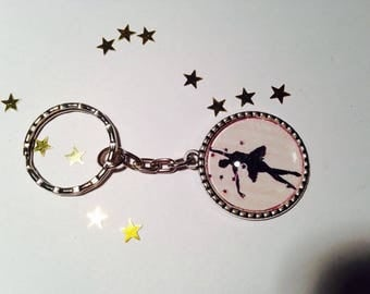 "Keychain Metal shipping ""Dancer classic"" glass Cabochon"