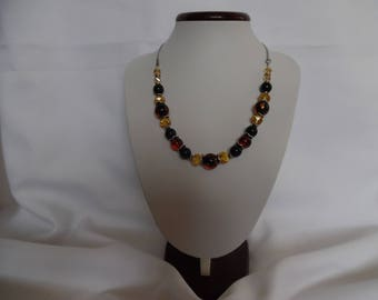 Necklace amber, black and champagne, Italian glass and glass beads.
