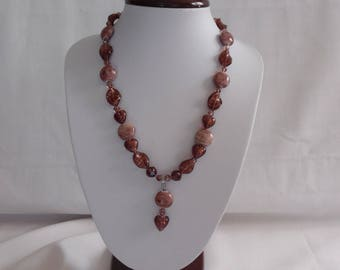 Amethyst heart pendant necklace, Italian glass beads.