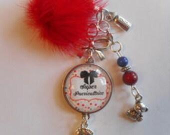 "Bag charm, Keychain / NURSERY / ""Super nursery"" / party/gift /anniversaire/ thanks"
