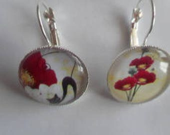 Earrings cabochon sleeper / cat poppy / gift / birthday / mother's day/Christmas party