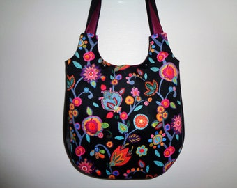 Floral velvet and faux black leather tote handbag