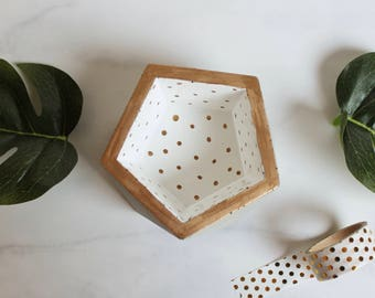 """Concrete White and Gold Polka Dots Trinket Dish - Geometric Pot - 3 1/4"""" Wide - Faceted - Use for Rings, Air Plants, Trinkets, and More"""