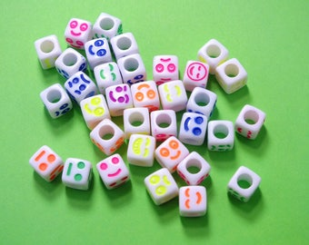 33 white patterned face 6mm cube beads