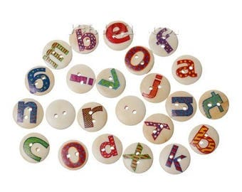 SET of 26 buttons wood round 15mm with complete alphabet
