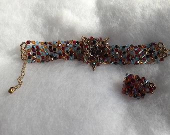 Parure bracelet et bague multicolore perles swarovski