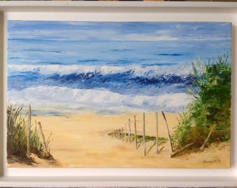 "Painting ""the Atlantic waves"" - knife oil painting - Navy"