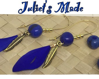 Earrings gold blue feathers