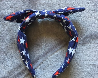 Red White and Blue Star Bandanaband